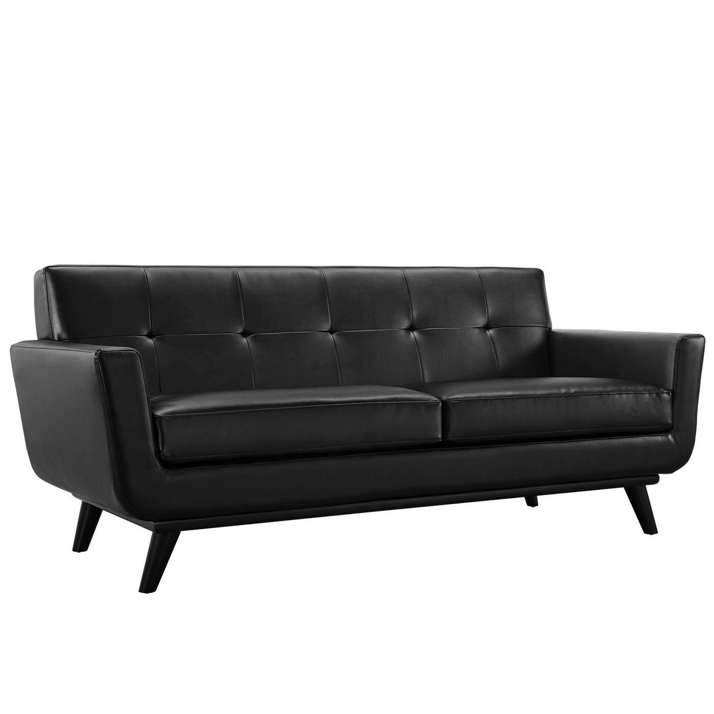 Engage Modern Bonded Leather Loveseat With Button Tufted