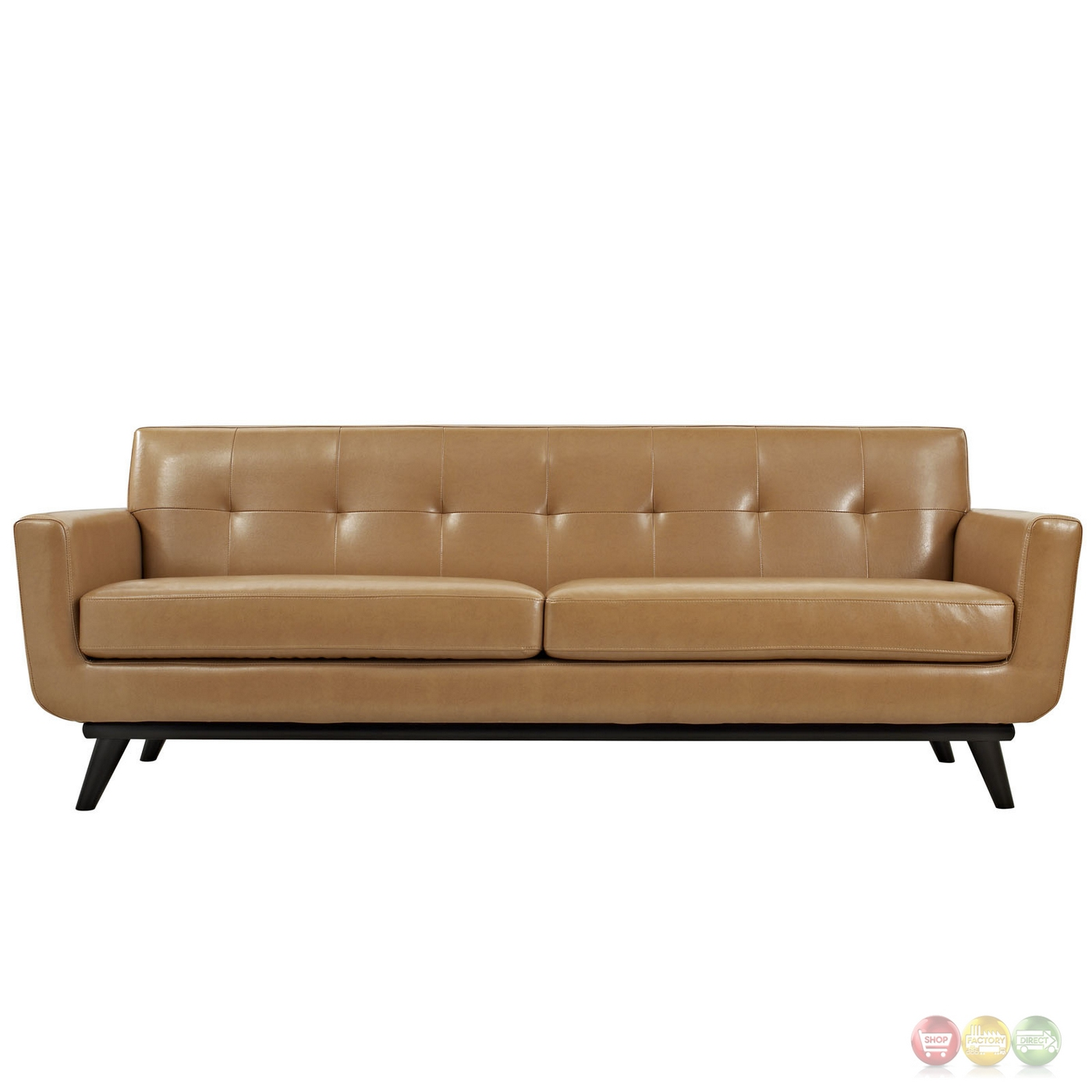 Engage Modern Bonded Leather Sofa With Button Tufted