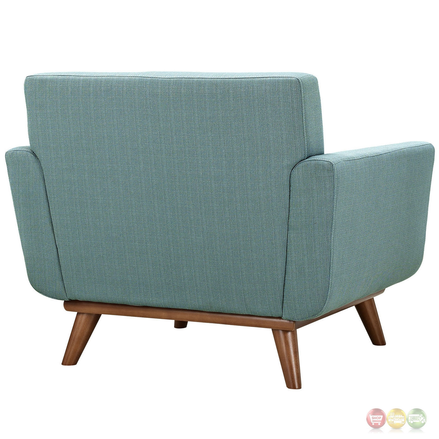 Modern Upholstered Button Tufted Armchair With Wood Legs Laguna. Full resolution  file, nominally Width 1400 Height 1400 pixels, file with #70462D.