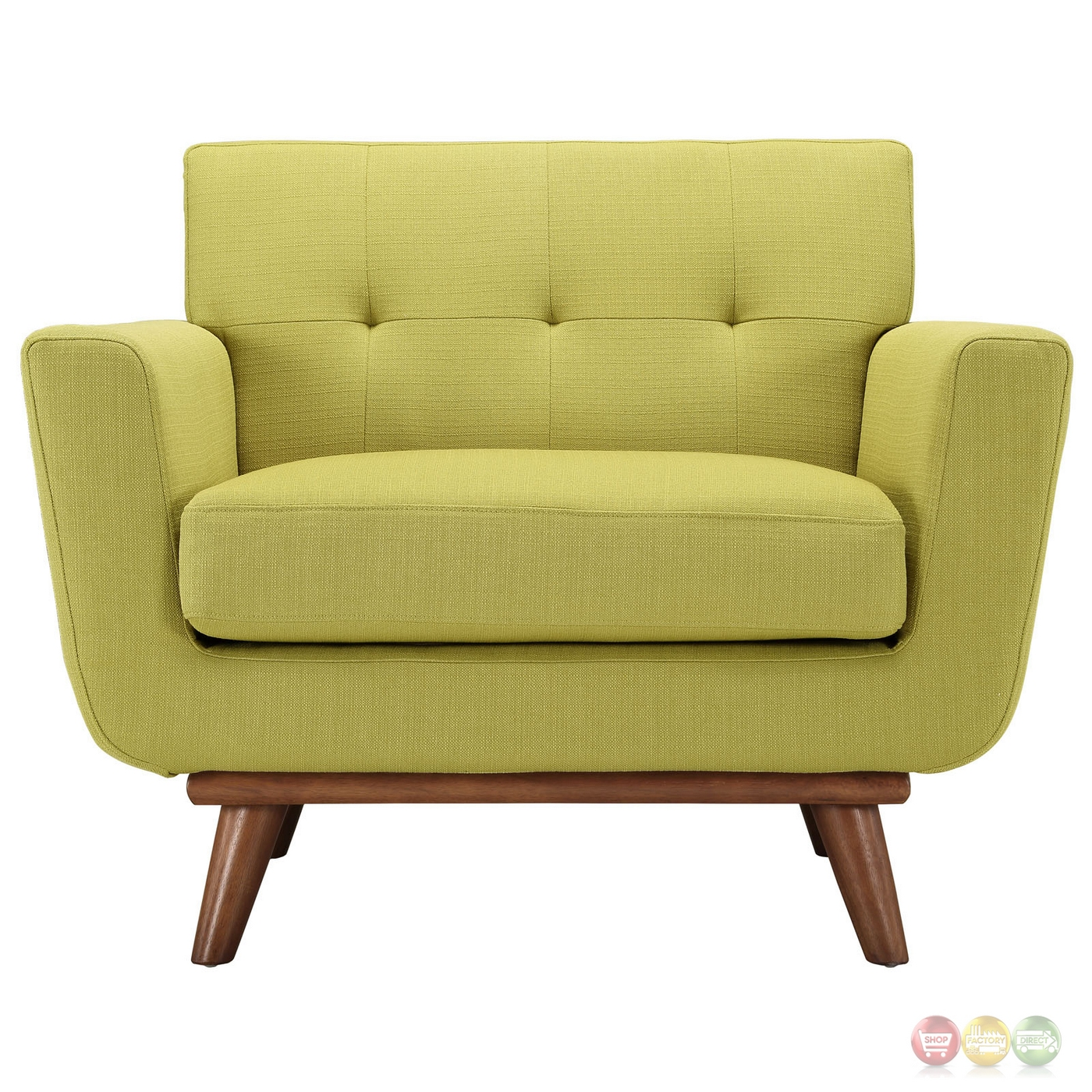 Engage Modern Upholstered Button Tufted Armchair With Wood Legs . Full resolution  img, nominally Width 1400 Height 1400 pixels, img with #382610.