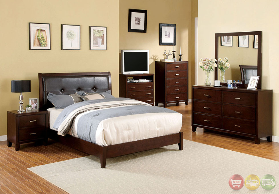 Enrico I Contemporary Brown Cherry Platform Bedroom Set with Padded ...