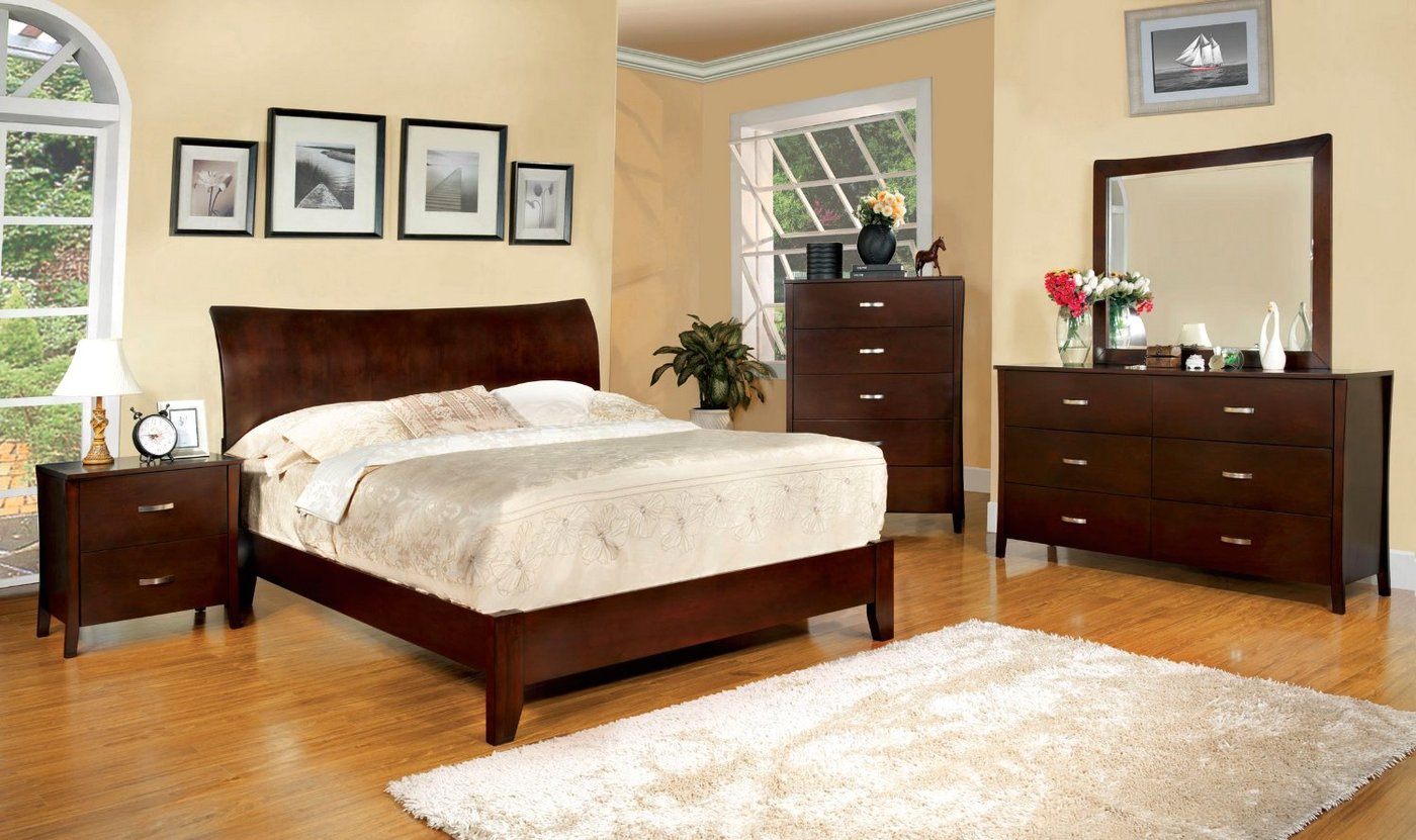 Enrico I Contemporary Brown Cherry Platform Bedroom Set with Padded Leatheret