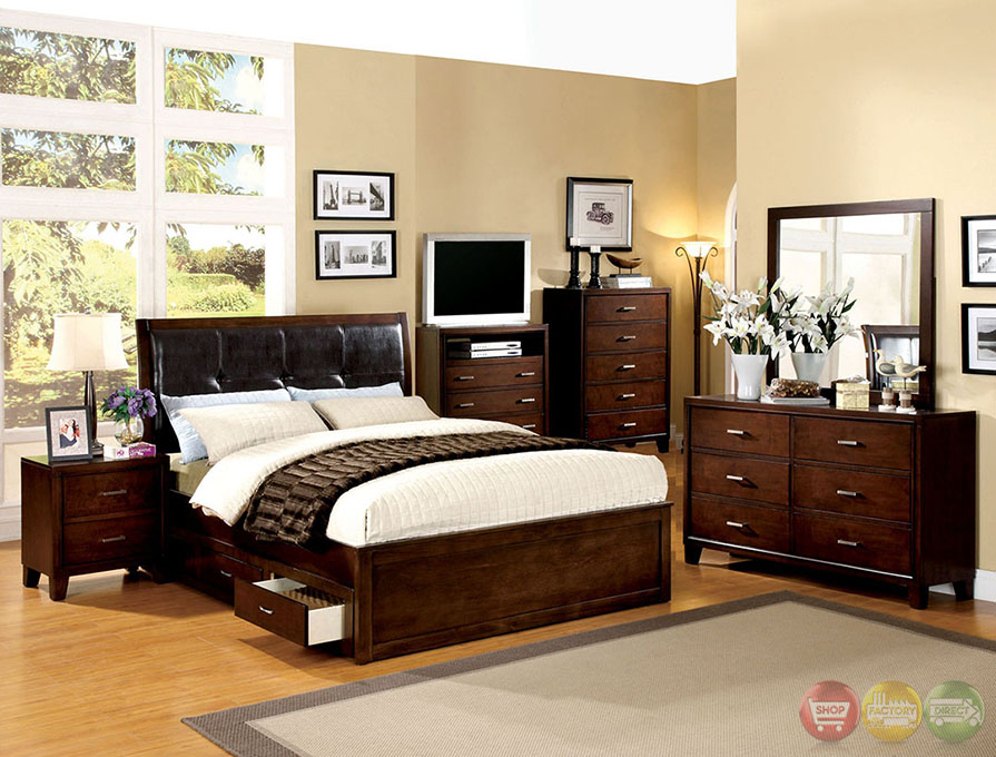 platform storage bedroom set with padded leatherette headboard cm7067