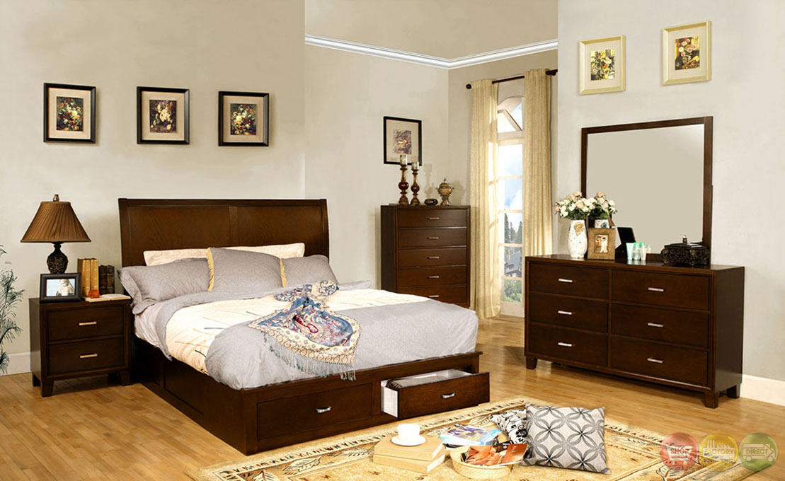 enrico v contemporary brown cherry platform storage bedroom set