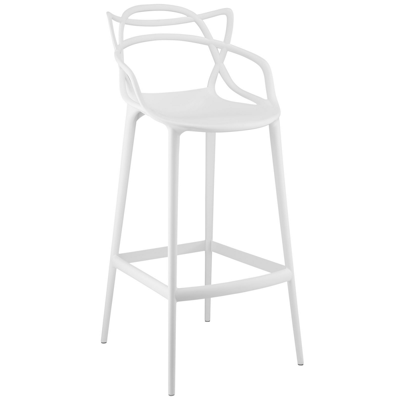 Entangled Stylish Modern Molded Plastic Bar Stool White