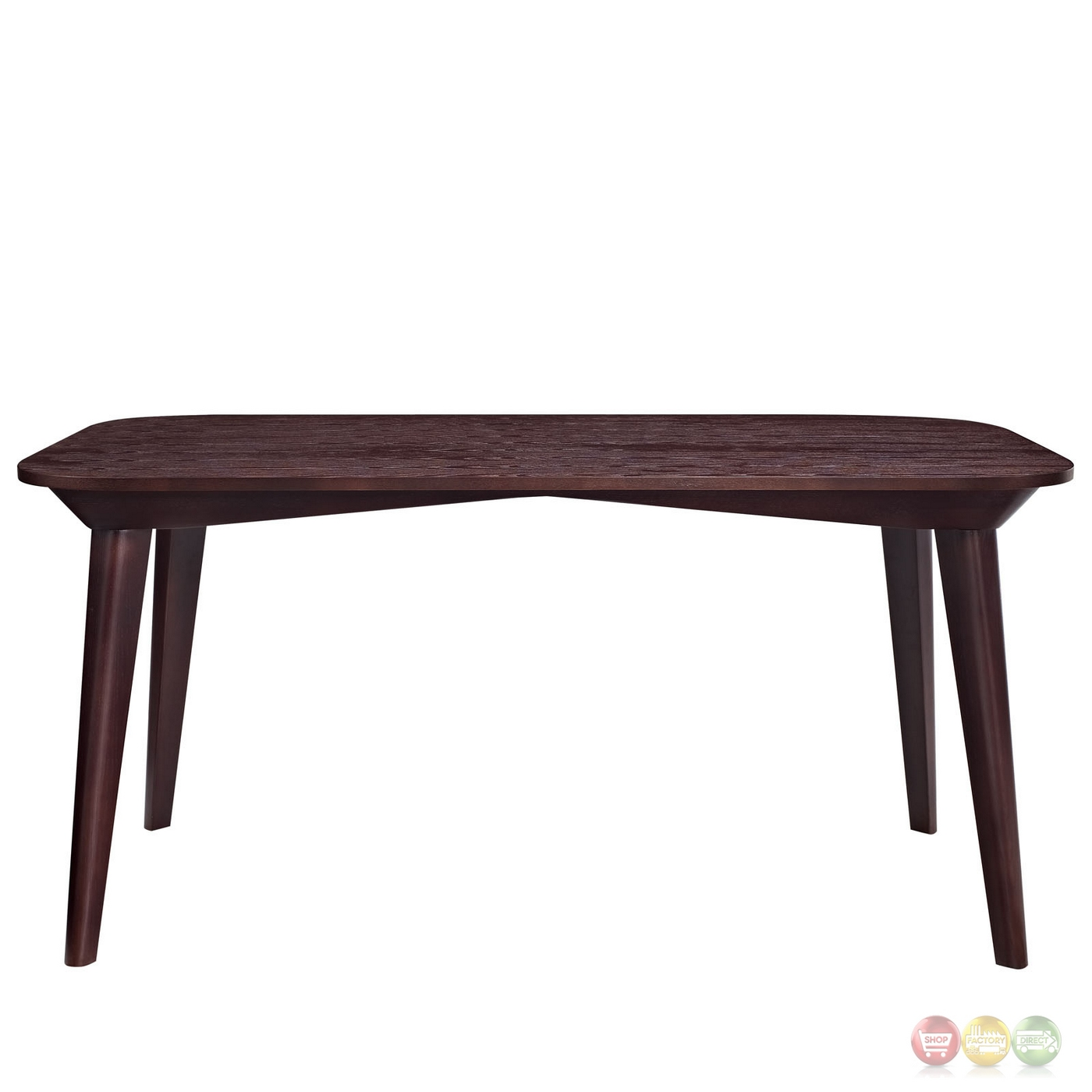 Contemporary Elliptical Shaped 40 Wooden Dining Table Walnut