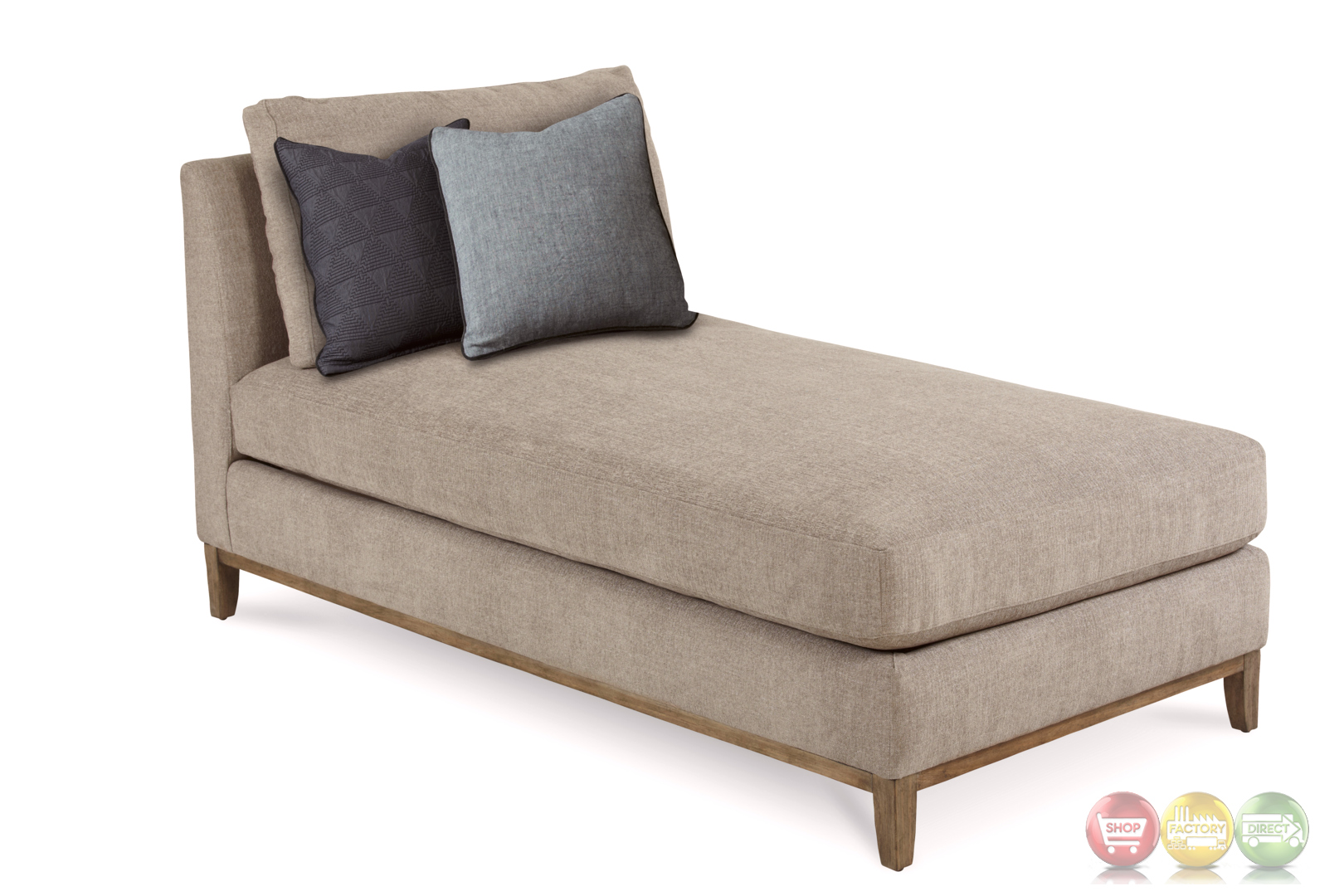 Epicenters chaplin natural beige chaise with rustic pine - Chaise tissu beige ...