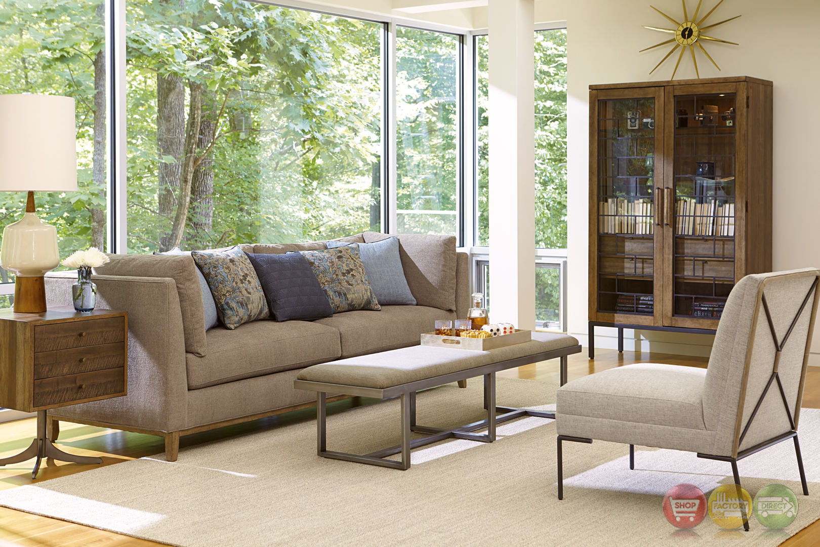 epicenters chaplin natural beige sofa with rustic pine accents