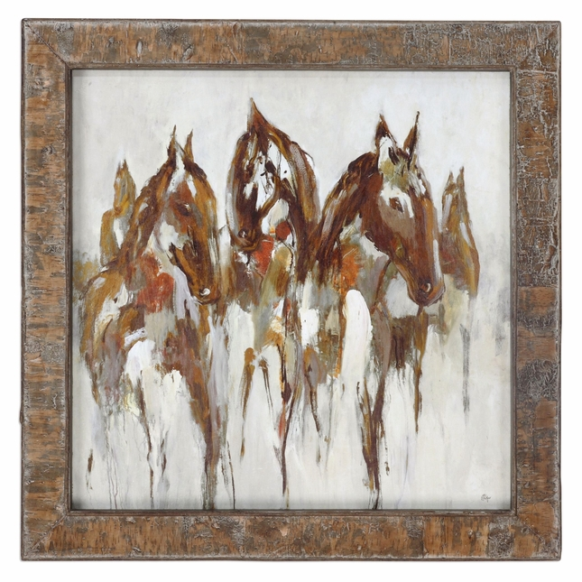 """Equestrian In Browns & Golds Abstract Wall Art In Real Birch Bark Frame, 36""""x36"""""""