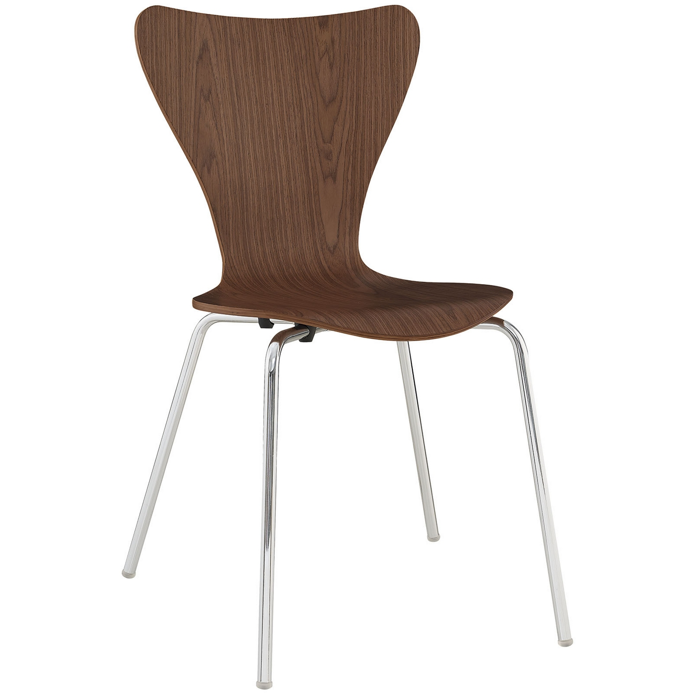 Ernie Modern Wood Grain Panel Dining Side Chair W Chrome