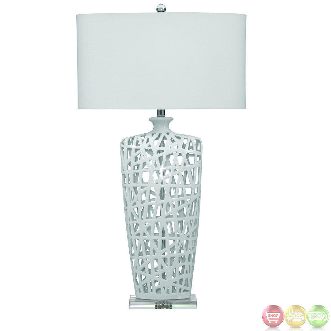 erowin gloss white ceramic table lamp l2528tec. Black Bedroom Furniture Sets. Home Design Ideas