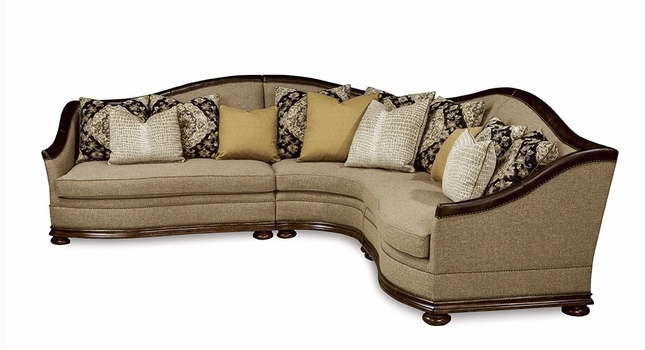 Esperanza Tuscan Natural Beige Sectional Sofa with Aniline Leather Accents