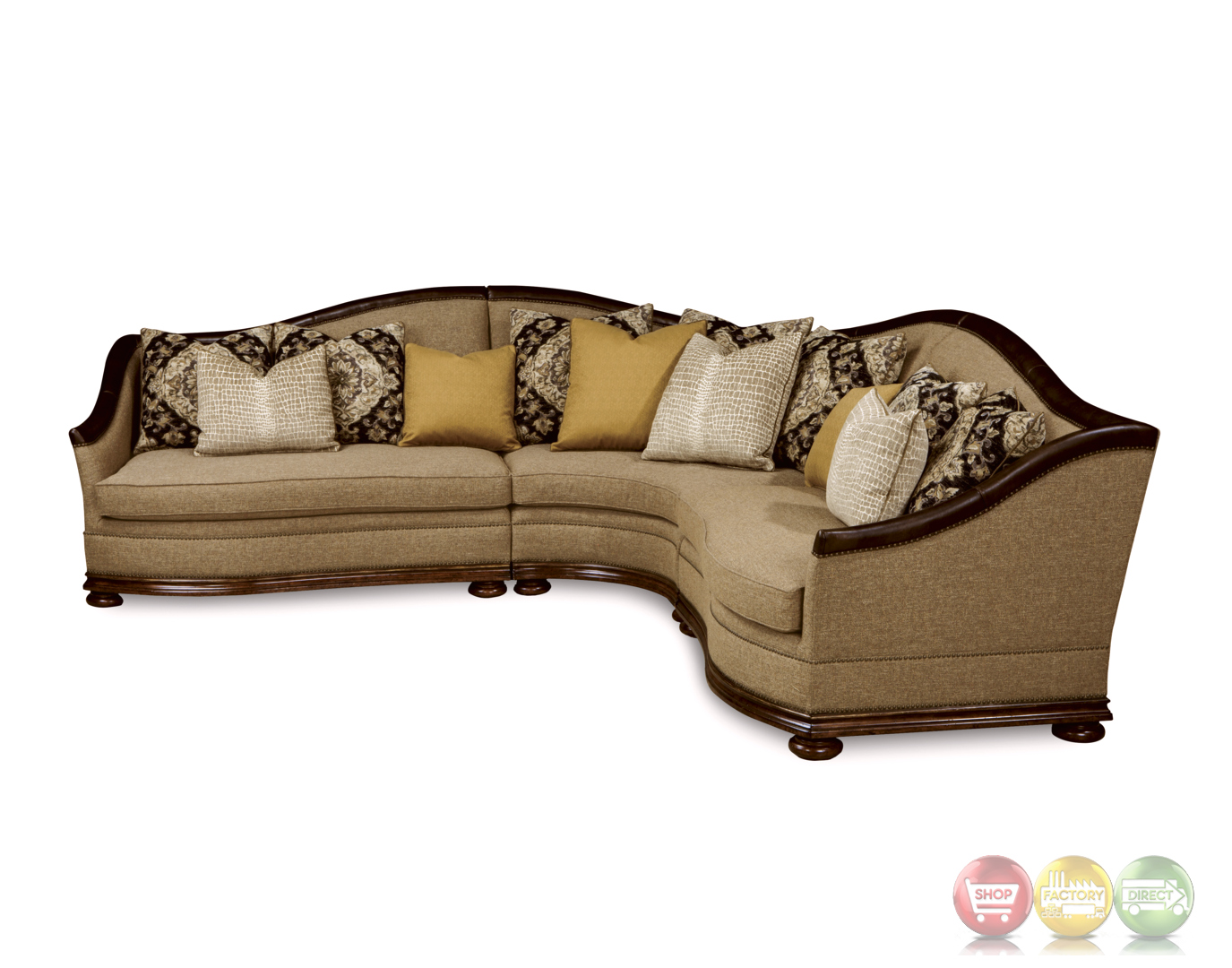 Esperanza Tuscan Natural Beige Sectional Sofa With Aniline