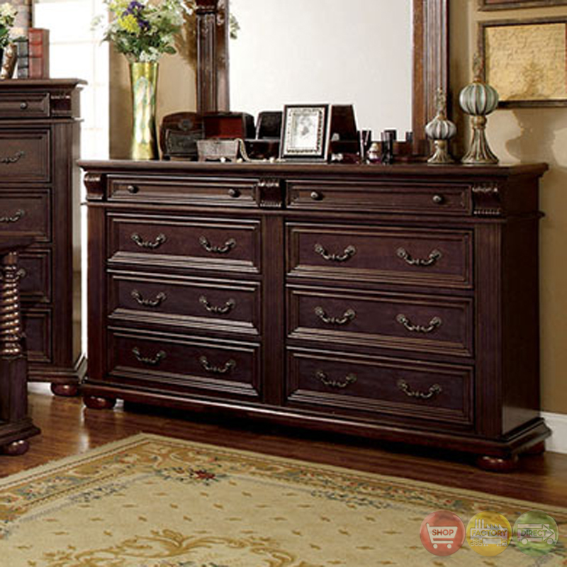 Esperia English Brown Cherry Bedroom Set Padded Faux