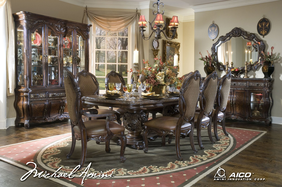Michael Amini Essex Manor Formal Dining Room Set Deep English Tea