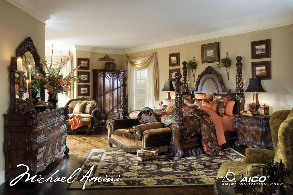 michael amini essex manor luxury poster bed carved wood bedroom set