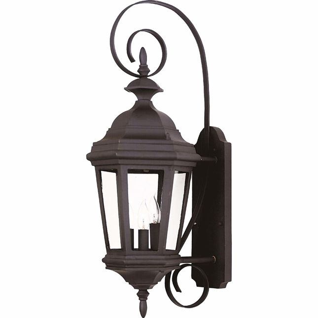 Estate Black Medium Transparent Glass Wall Lantern