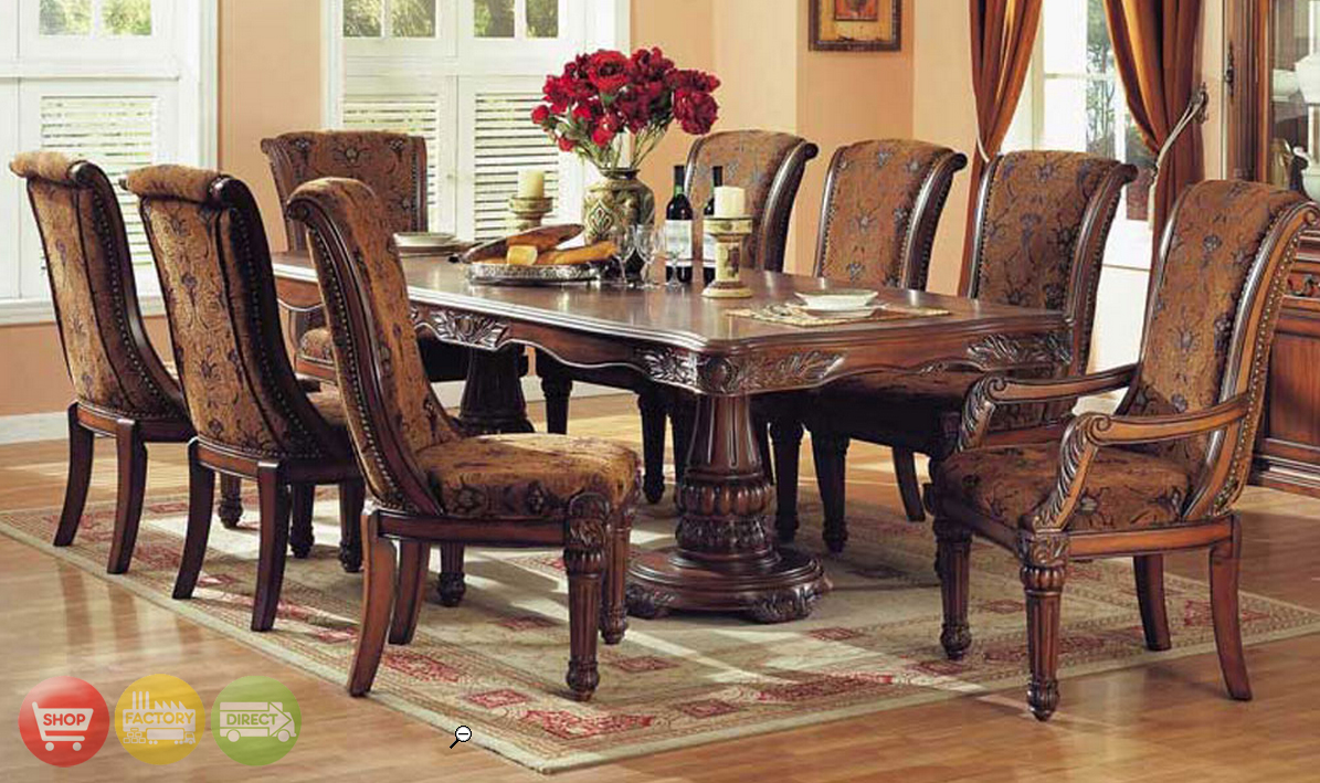 estelle cherry brown finish formal dining room set