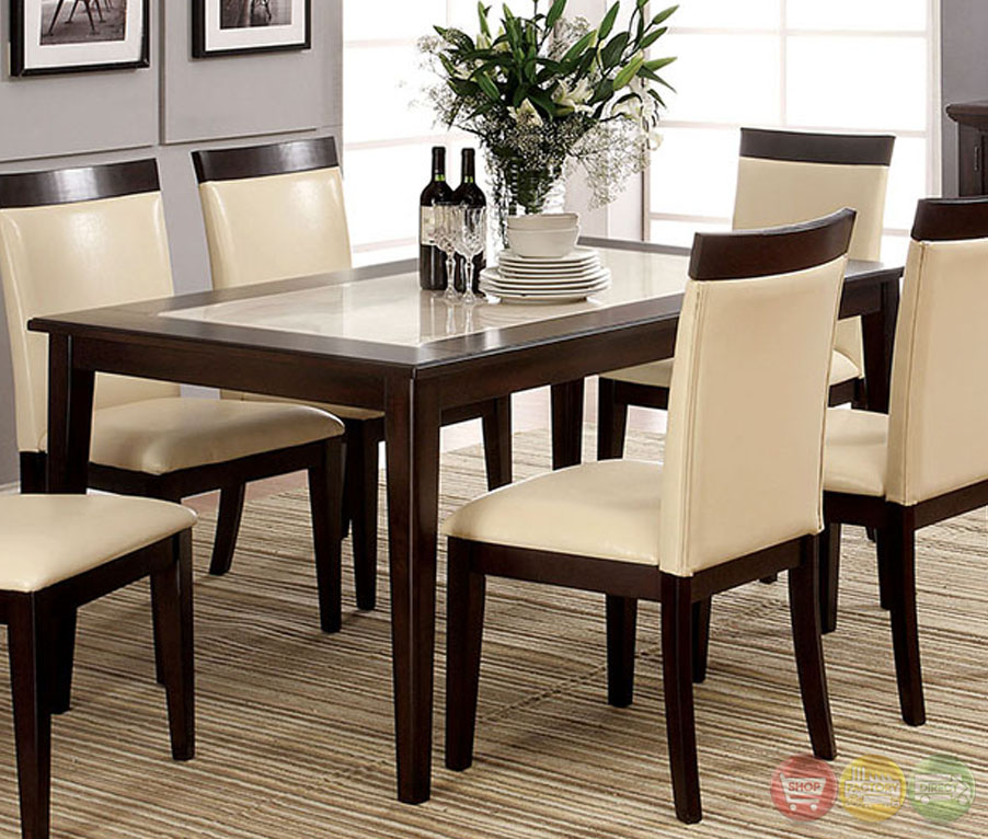 Evious I Contemporary Espresso Casual Dining Set with Faux Marble ...