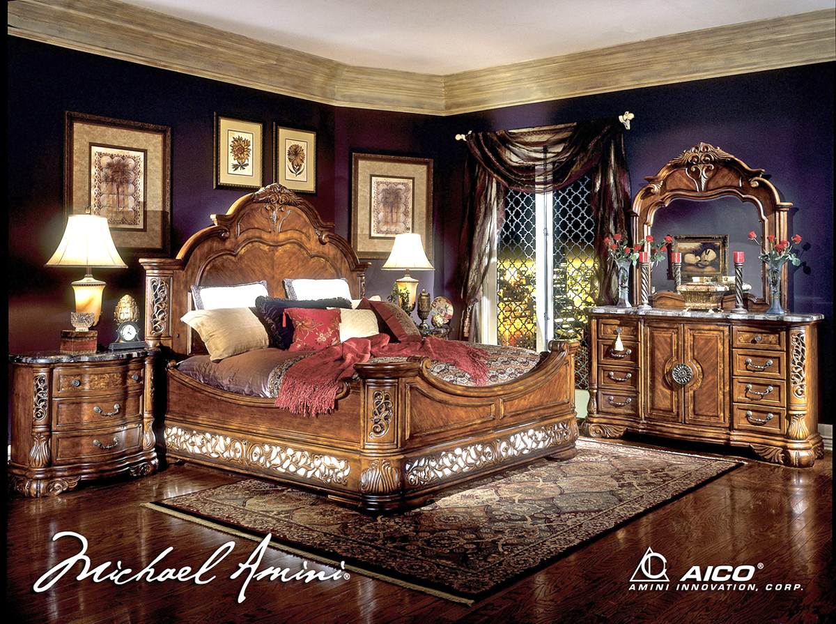 Michael Amini Excelsior Bedroom Furniture Collection Fruitwood Finish By AICO