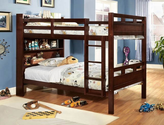 Fairfield Kids Dark Walnut Twin Over Twin Bunk Bed with Bookcase