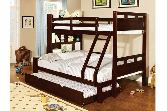 Fairfield Kids Dark Walnut Twin Over Full Bunk Bed with Bookcase