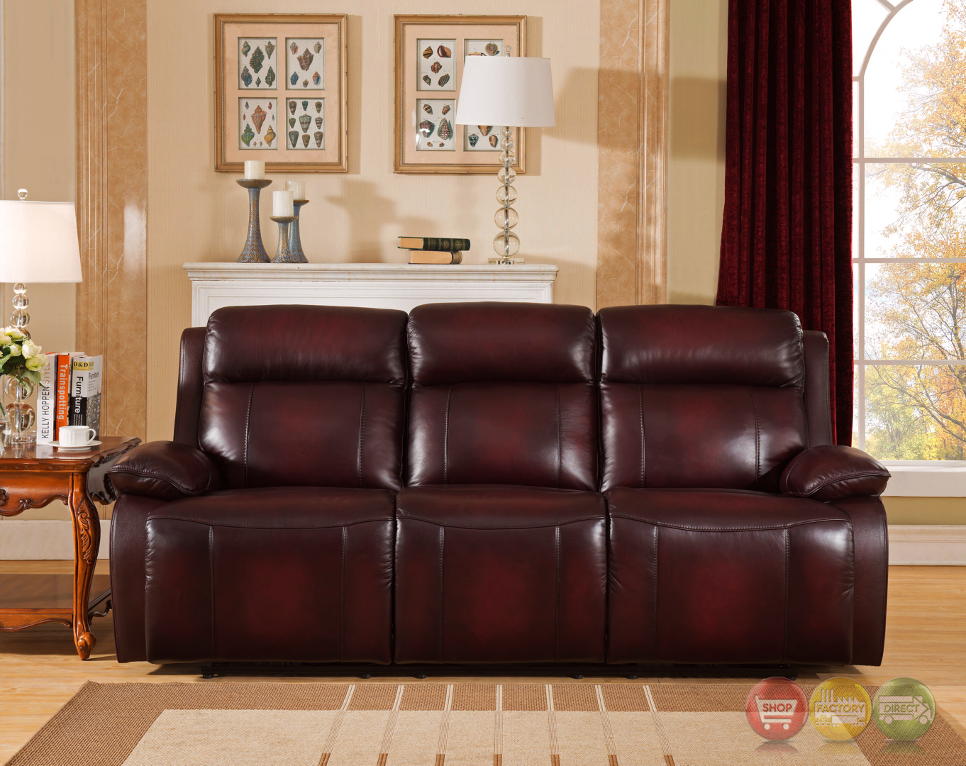 Faraday Genuine Leather Power Recline Sofa In Deep Red