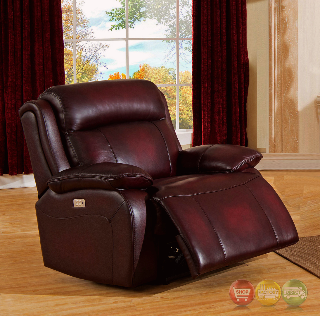 Shop Yellow Genuine Leather Sofa Set: Faraday Power Recline 3pc Sofa Set In Deep Red Real