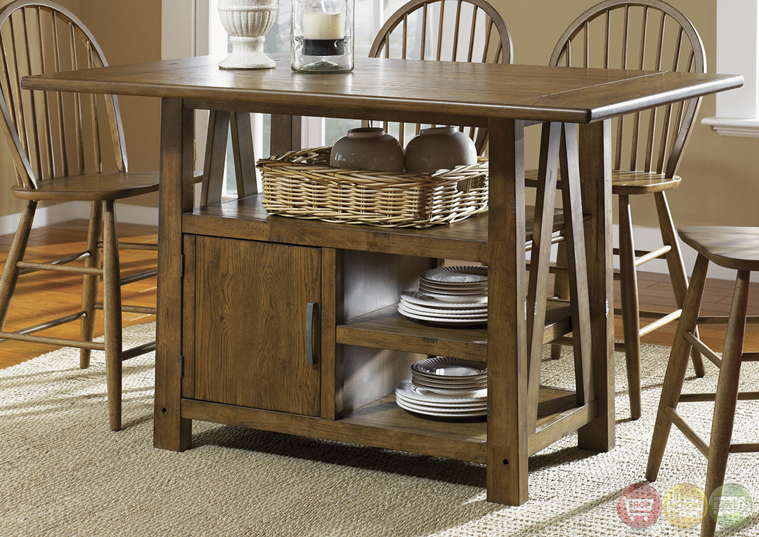 Farmhouse Counter Height Storage Table Casual Dining Set
