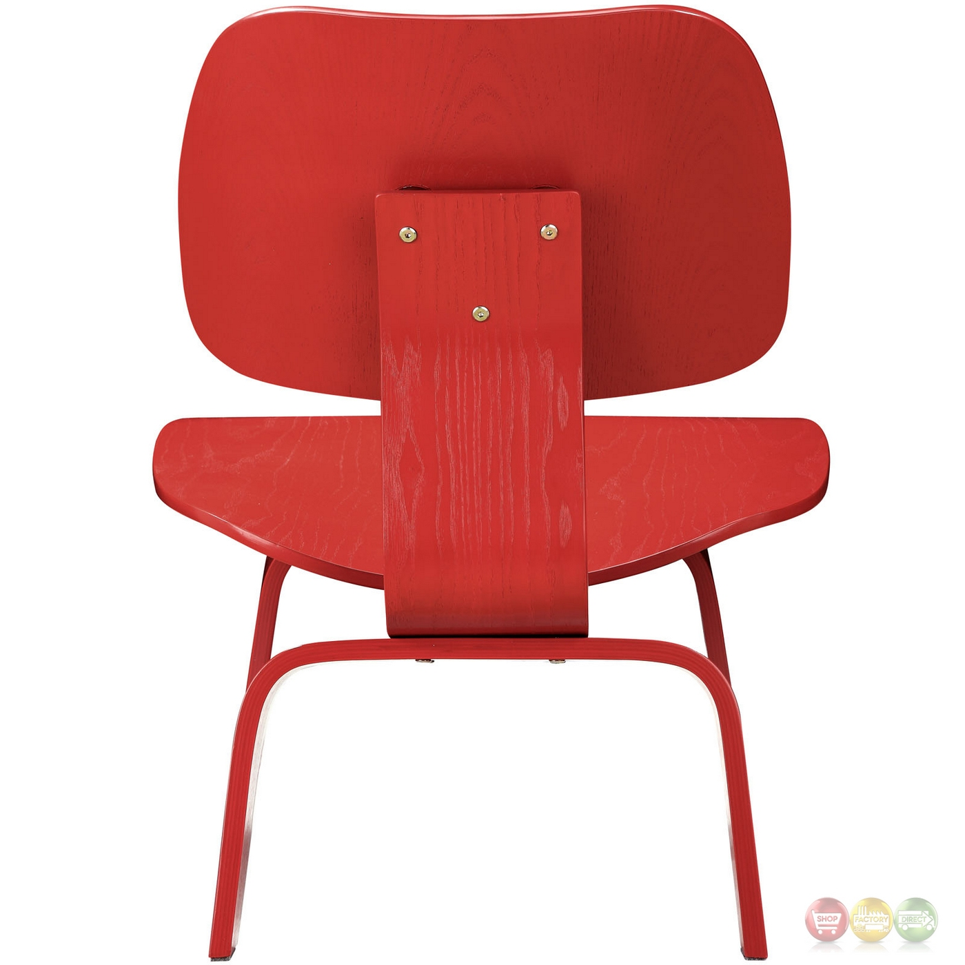 Fathom Contemporary Wood Panel Lounge Chair With Curved Seat Red