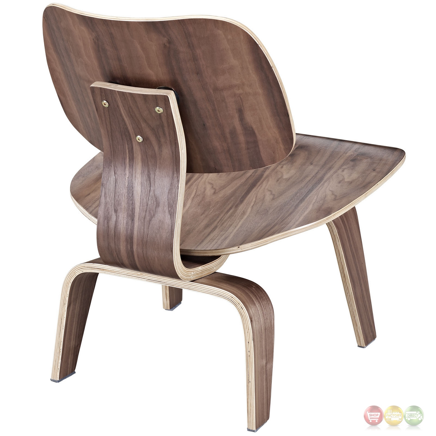 Fathom Contemporary Wood Panel Lounge Chair With Curved Seat Walnut