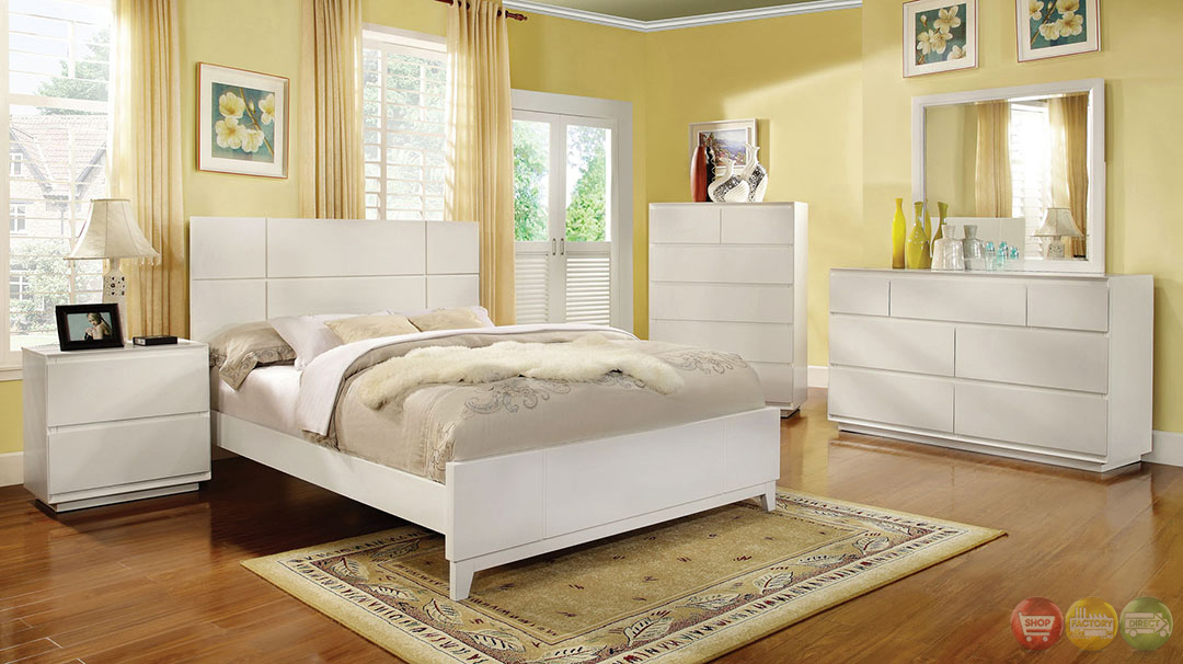 Felica Contemporary White Bedroom Set with Full Extension