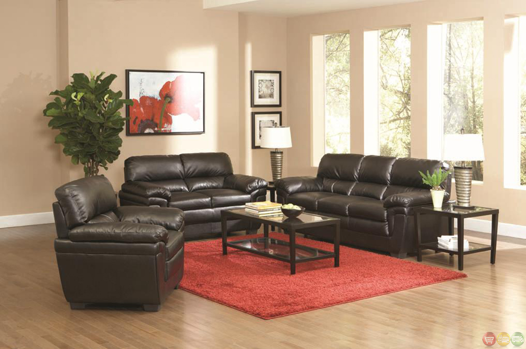 Fenmore Black Faux Leather Contemporary 3 Piece Living Room Set Sofa Love Cha