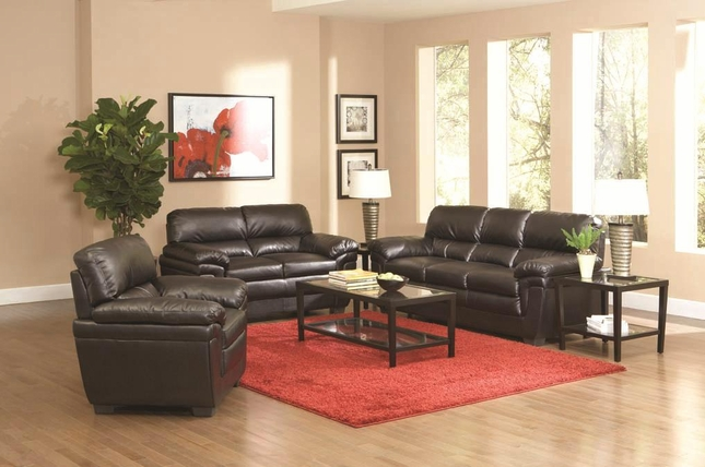 Fenmore Black Faux Leather Plush Contemporary Living Room Sofa Set