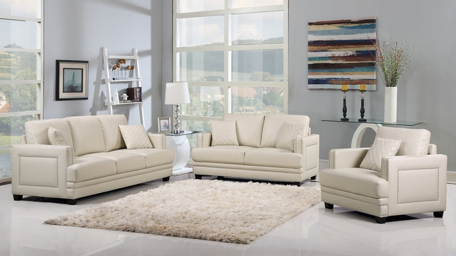Ferrara Opulent Beige Leather Sofa & Loveseat Set with Silver Nail Head Design