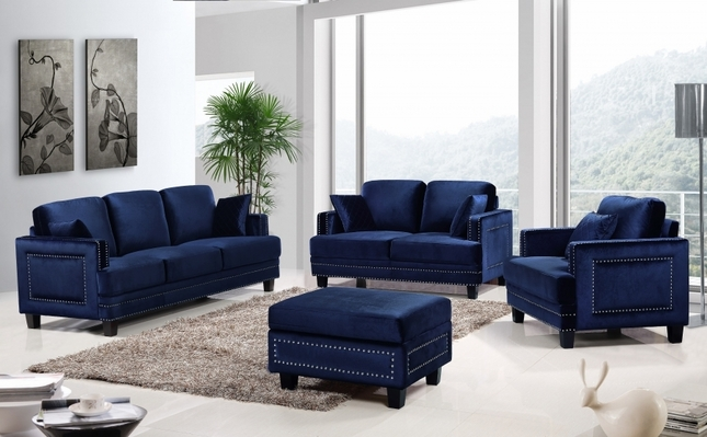 Ferrara Stunning Navy Velvet Sofa & Loveseat Set with Silver Nail Head Design