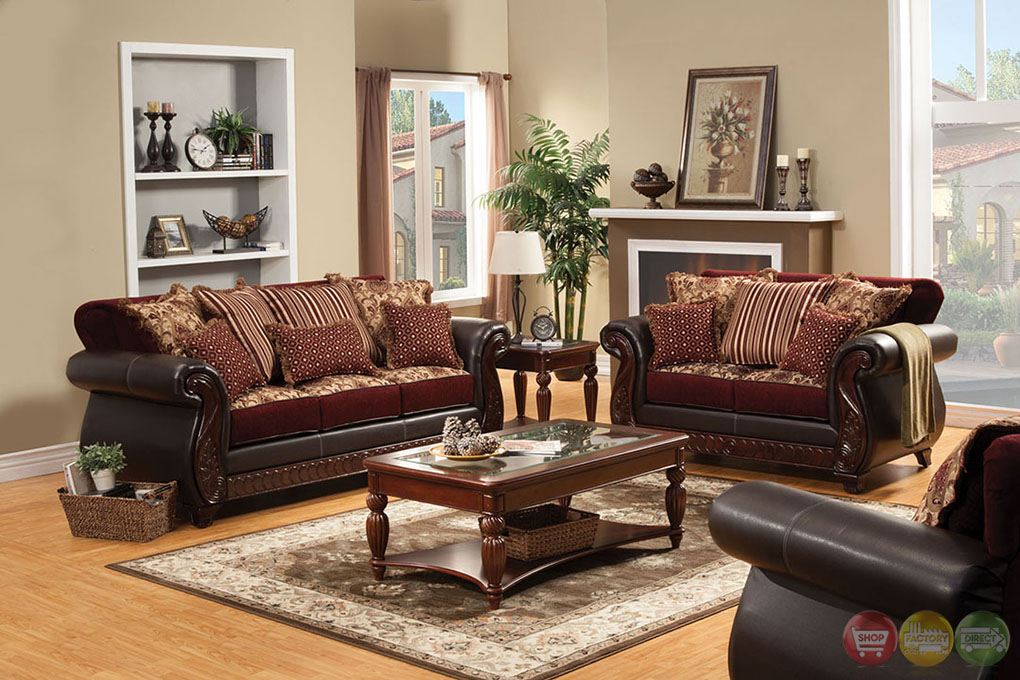 Fidelia Traditional Burgundy Living Room Set With Pillows