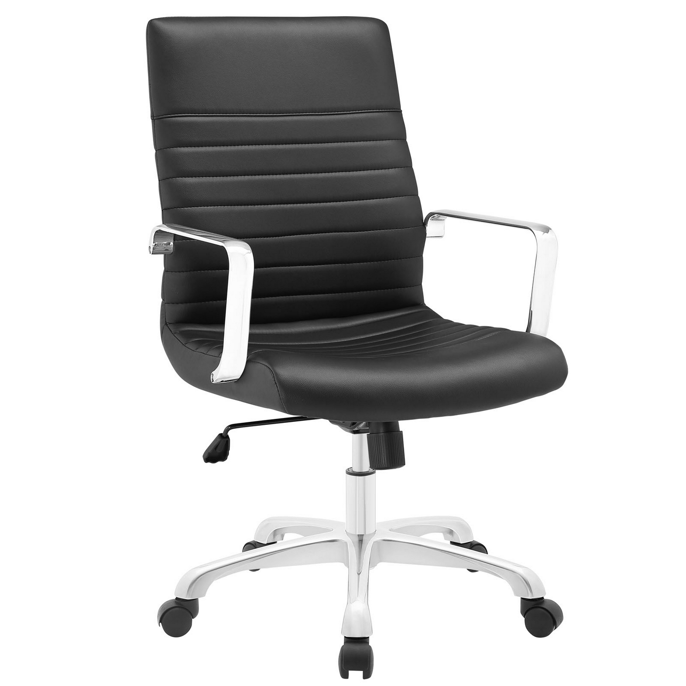 Cheap Modern Office Chairs: Finesse Modern Upholstered Ribbed Vinyl Mid Back Office