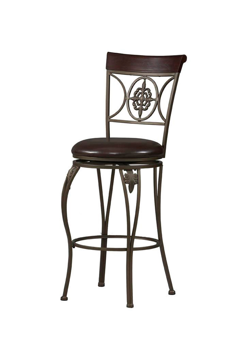 Fleur De Lis Antique Gold Swivel Seat Bar Stool