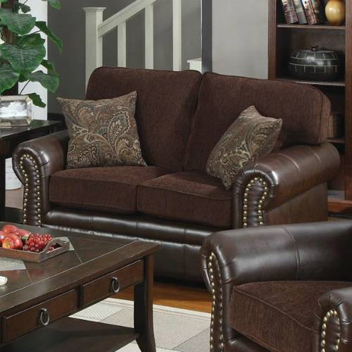 Florence Chocolate Brown Transitional Style Sofa Set