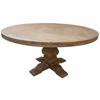 Florence Solid Mahogany Round Dining Table with Natural Finish
