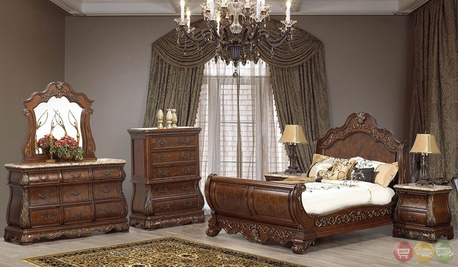 florence burl wood traditional cherry sleigh bedroom set