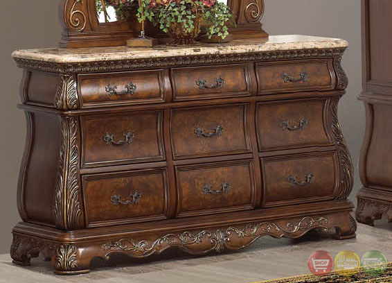 florence traditional cherry sleigh bedroom set with stone