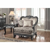 Florence Traditional Formal Living Room Furniture Arm Chair Dark Wood Frame