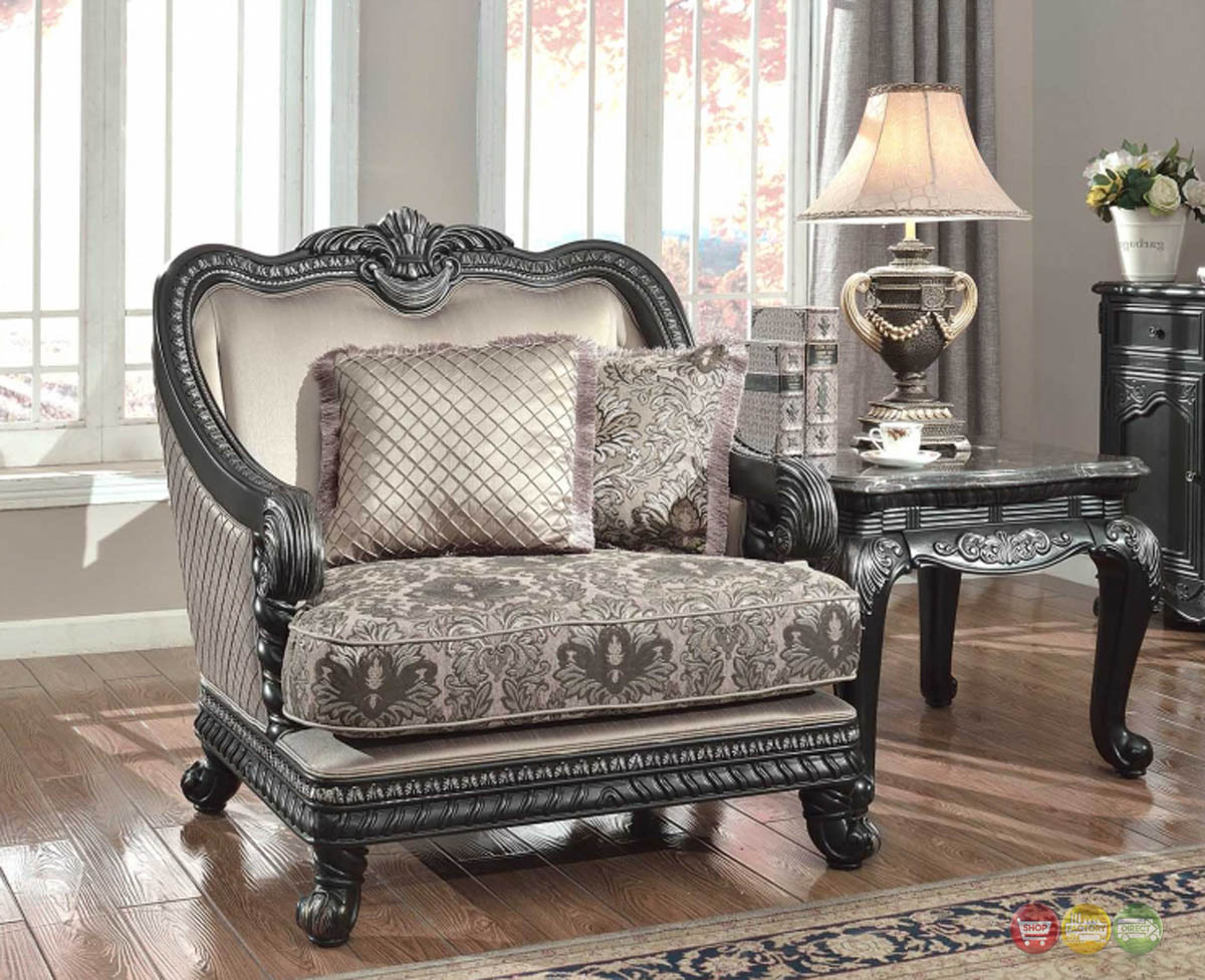 traditional formal living room furniture arm chair dark wood frame