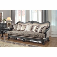 Florence Traditional Formal Living Room Furniture Sofa Dark Wood Frame Couch