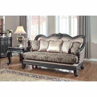 Florence Traditional Formal Living Room Loveseat Dark Wood Frame 618