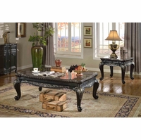 Florence Traditional Occasional Table Set Black Carved Wood Marble Tops