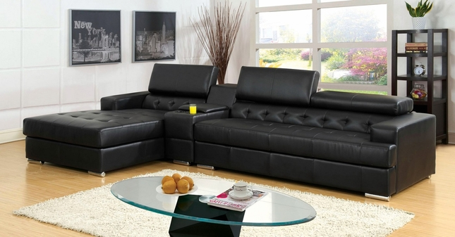 Floria Modern Black Bonded Leather Sectional Sofa Set with Headrests