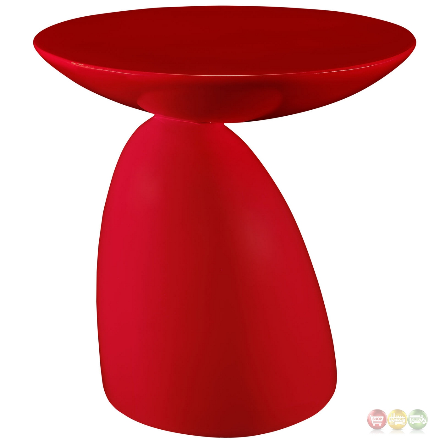 Flow Ultra-modern High Gloss Round End Table With Stylish Base, Red